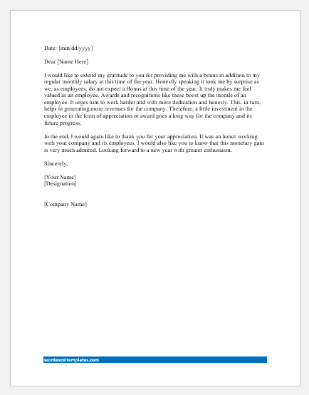 Thank You Letter To Boss For Bonus Pay Word Excel Templates