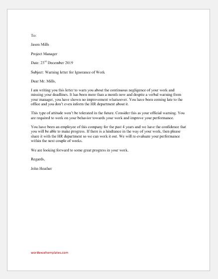Warning Letter for Ignorance of Work
