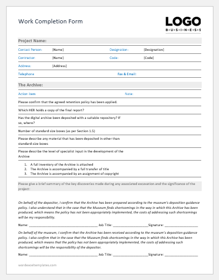 Work Completion Form