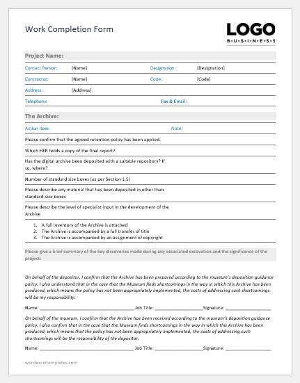 Work Completion Form