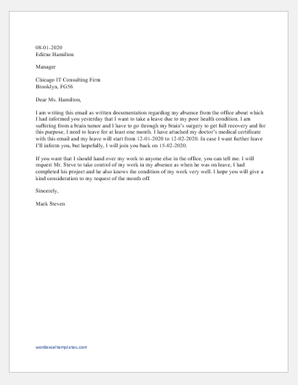 Absence excuse email to boss