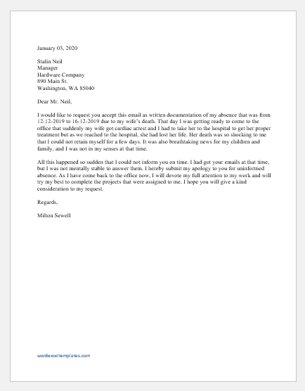 Absence Excuse Email