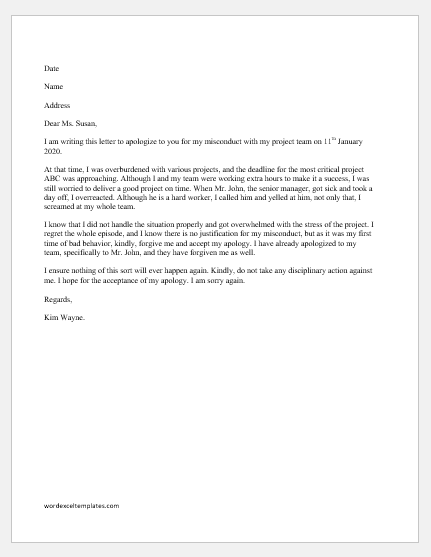 Apology Letter to CEO for Misconduct
