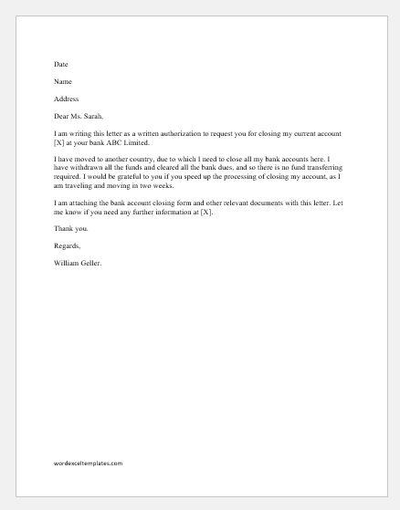 Authorization Letter To Close Bank Account Word Excel Templates