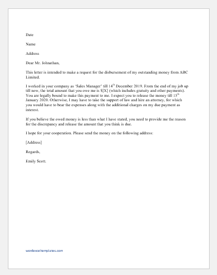 Back Pay Letter to Employer