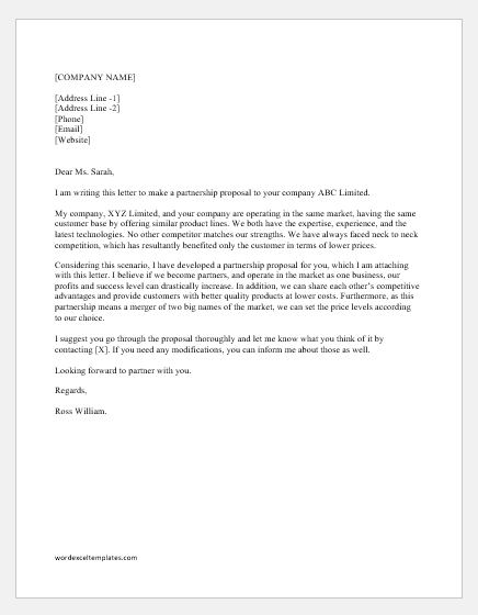 Business Proposal Letter For Partnership Letter
