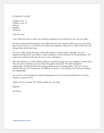 Business Proposal Letter For Services Word Excel Templates