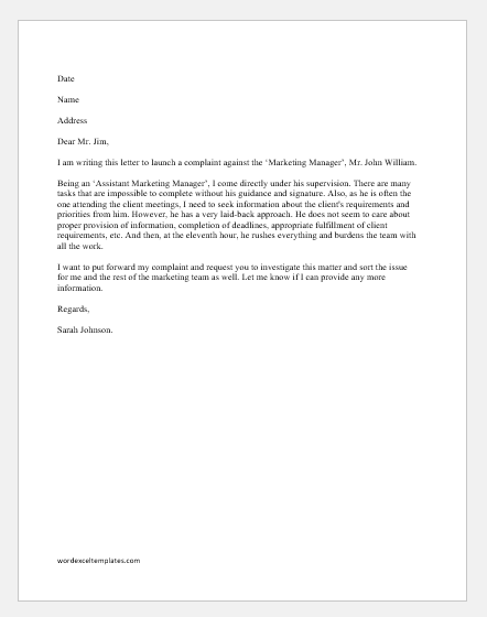 Complaint Letter About Manager S