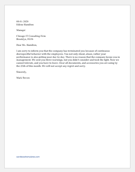 Disciplinary action email for disrespectful behavior