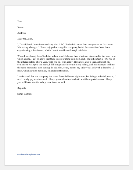 Employee Complaint Letter to HR