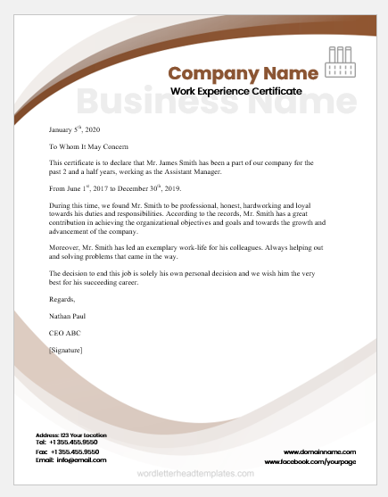 Experience Certificate Templates For Ms Word Word Excel Templates