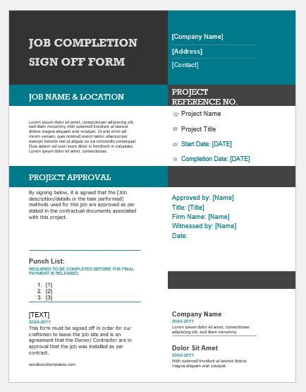 Job Completion Sign-off Form