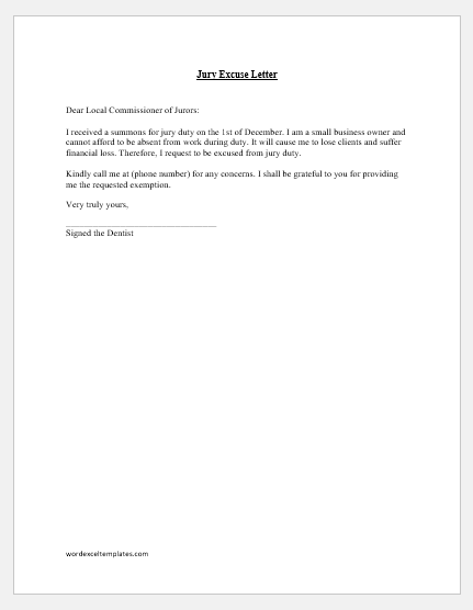 Jury Duty Excuse Letter For Primary Caregiver Sample from www.wordexceltemplates.com