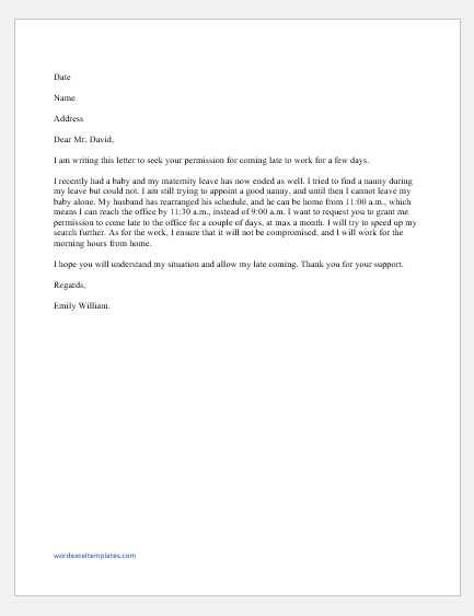 Letter Asking Permission to Come Late to Work