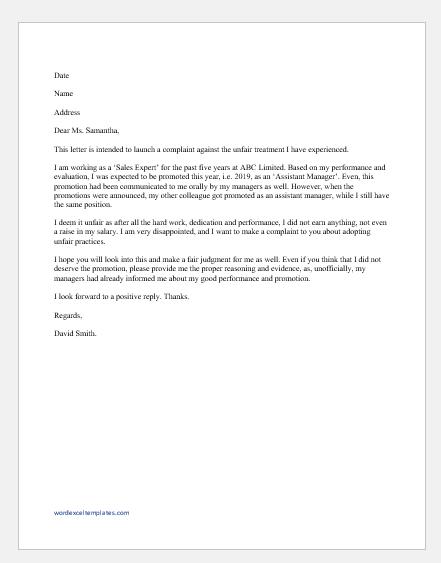 Letter of Complaint for Employer Unfair Treatment