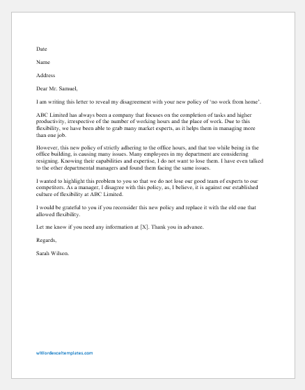 Letter of Disagreement with Boss