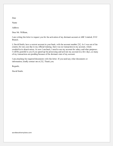 Letter to Manager to Activate Bank Account