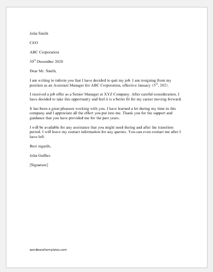 Letter to inform your Boss to Quit the Job