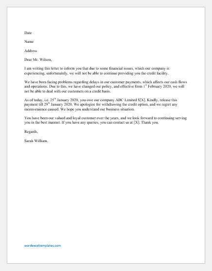Letter to withdraw Credit from Customer