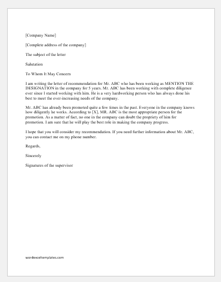 Best Recommendation Letter Ever from www.wordexceltemplates.com