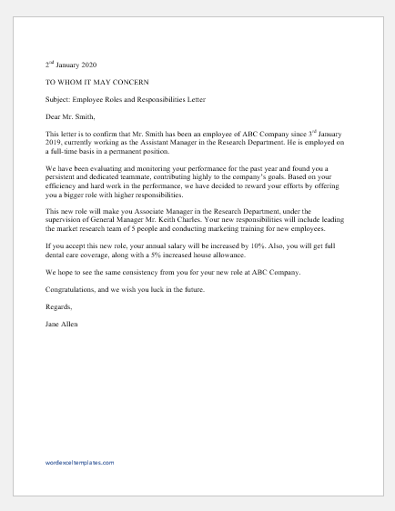 Employer Letter For Employee from www.wordexceltemplates.com