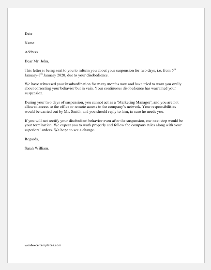 Sample Letter Of Reprimand For Insubordination from www.wordexceltemplates.com