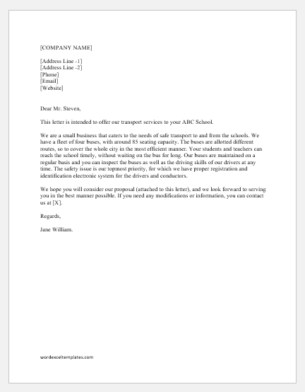 Transport Business Proposal Letter Word Excel Templates