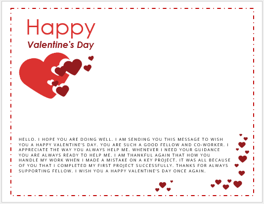 Valentine Day Message to Colleague or Coworker