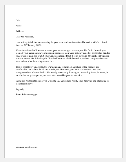 Warning letter for being rude and confrontational