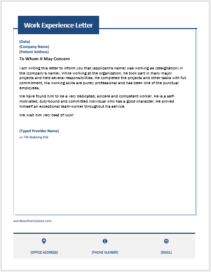 Work Experience Letter Template