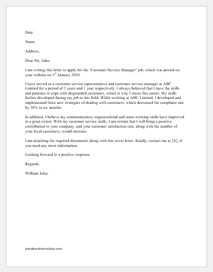 Cover Letter Customer Service from www.wordexceltemplates.com