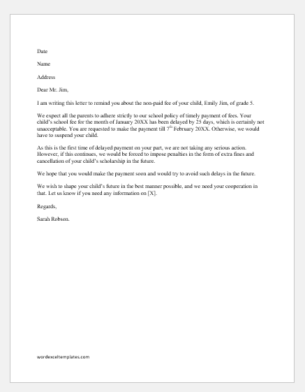 Fee Reminder Letter to Parents