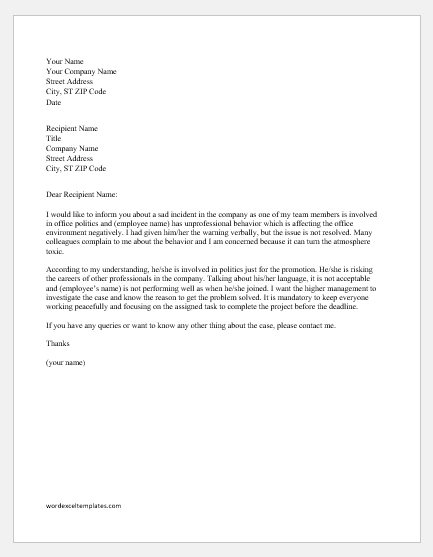 Letter of concern to management for unprofessional behavior
