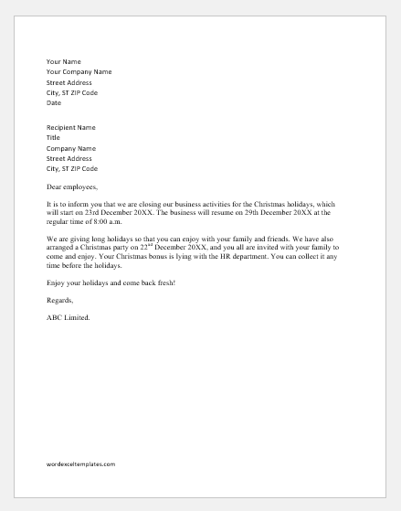 Letter Of Business Closure from www.wordexceltemplates.com