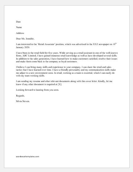 Retail Skills Cover Letter