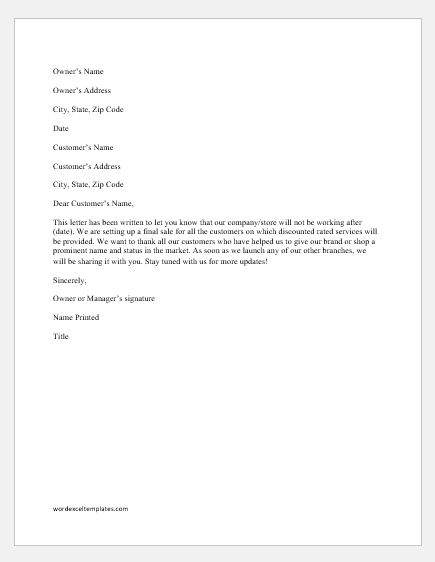 Store Closing Letter to Customers