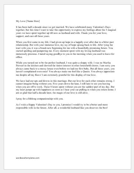 Valentine Day Love Letter for Husband