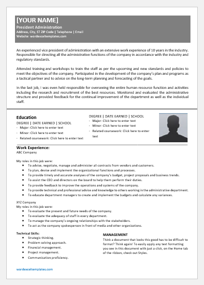 Vice President of Administration Resume