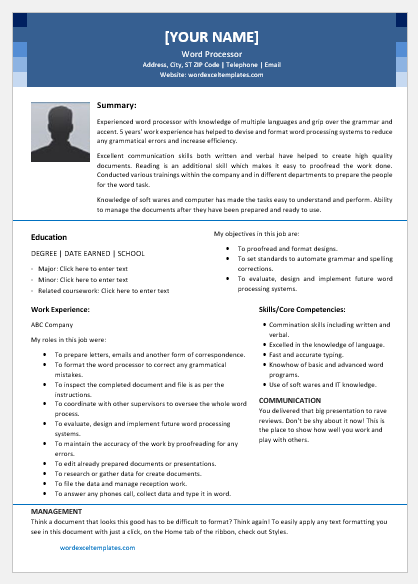 Word Processor Resume Template for Word