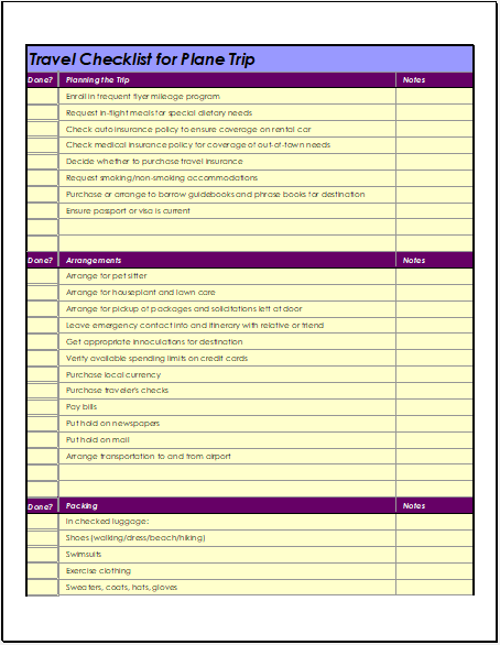 Airplane Travel Checklist Template For Excel Word Excel Templates