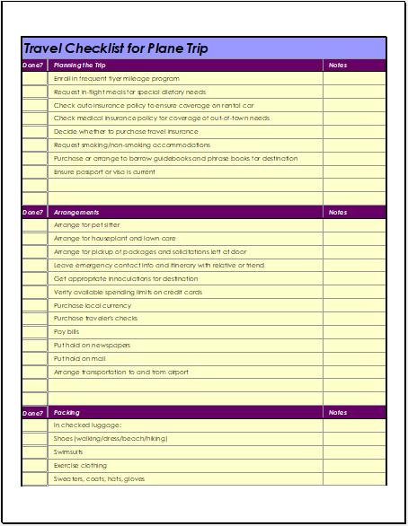 Airplane Travel Checklist Template