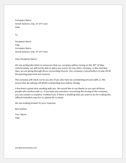 Business closing announcement letter