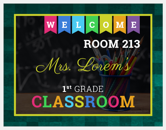 Classroom Door Sign Template