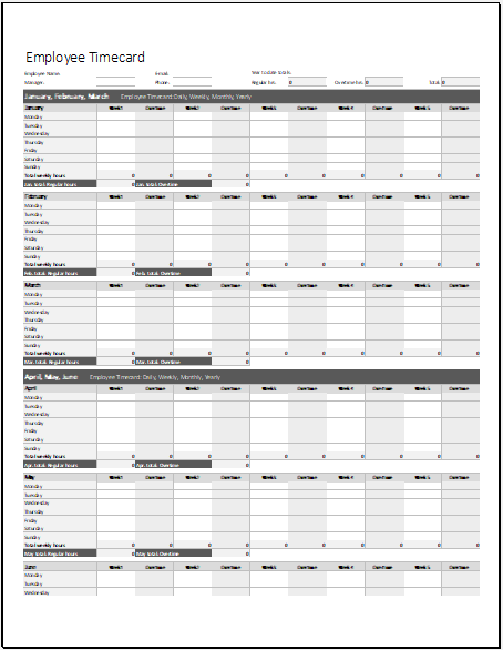 Employee Timecard Template for Excel