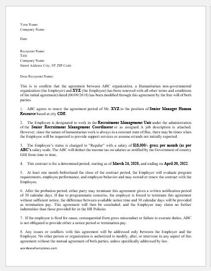 Job Renewal Agreement Letter