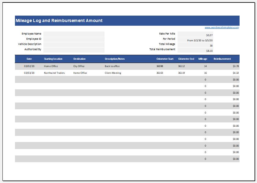 Mileage log with reimbursement amount