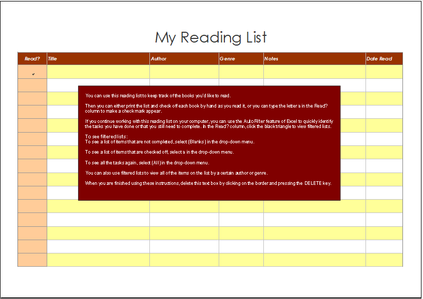 Reading List Template for Excel