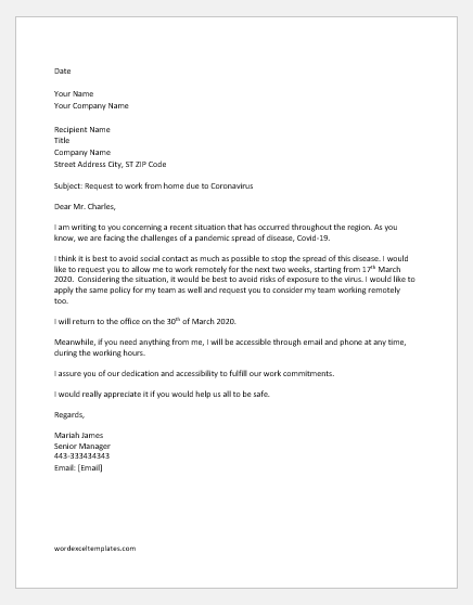 Request Letter to Work Remotely due to Coronavirus