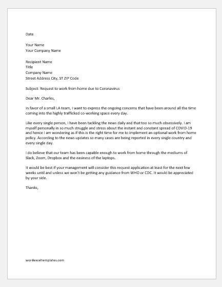 Request Letter to Work from Home due to Coronavirus