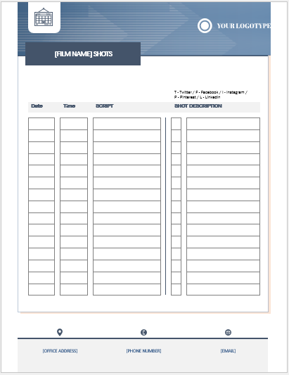 Shot List Template for Word